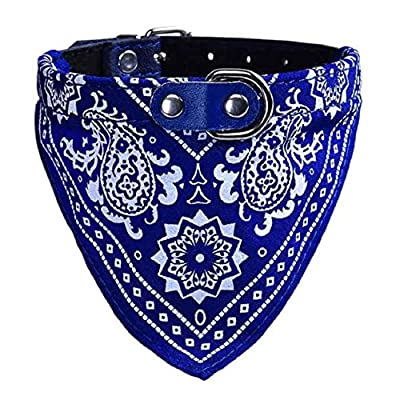 Pet Series, FEITONG Adjustable Pet Dog Puppy Cat Neck Scarf Bandana Collar Neckerchief M (M, Blue)