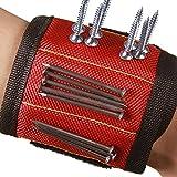 Hense Magnet-Armband mit starken Magneten für Schrauben, Nägel, Bohrer, Schere, und kleine Werkzeuge, Werkzeug für Heimwerker, Männer, Frauen (hsz-07) rot