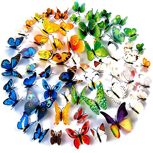 Zacro Adhesivos 3D Decorativos para Pared, Diseño de Mariposas. 60 unidades