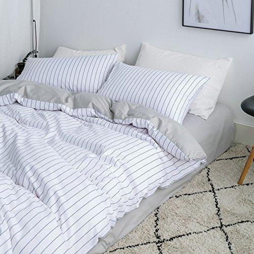 Smncnl Nordic Einfachheit, kalter Wind Baumwolle 4-teilig Gestreifte grid voll Tröster Set Bettwäsche Bettwäsche unternehmen ThatTriumph, 1,2 M