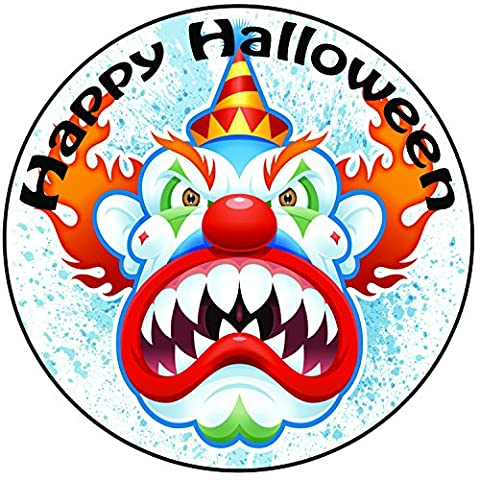 Happy Halloween Scary Clown Cake Topper - A Pre-cut Round 8