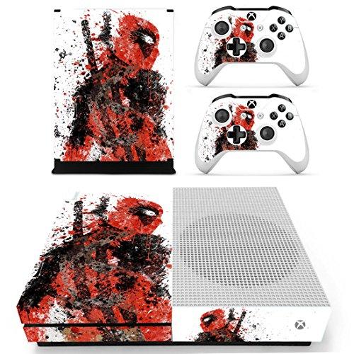 Preisvergleich Produktbild THTB Xbox One Slim + 2 Controller Aufkleber Schutzfolien Set - Deadpool / One S