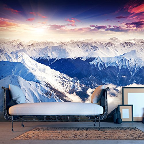 Fototapete Berge 250x175 cm XL | VLIES TAPETE - Moderne Wanddeko - Fototapete 3D Illusion - Riesen Wandbild - Design Tapete - Schlafzimmer, Wohnzimmer, Kinderzimmer geeignet | Fototapeten Wandtapete FOB0070a5XL