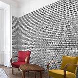 Apalis Steintapete Vliestapete Backstein Ziegeltapete schwarz weiß Fototapete Breit | Vlies Tapete Wandtapete Wandbild Foto 3D Fototapete für Schlafzimmer Wohnzimmer Küche | grau, 106125