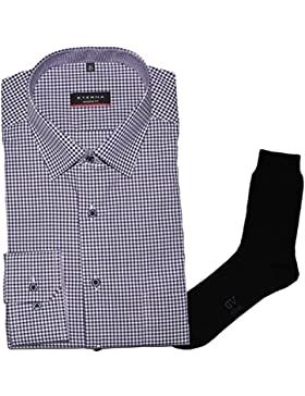 ETERNA Herrenhemd Modern Fit, flieder-lila, Vichy Popeline + 1 Paar hochwertige Socken, Bundle