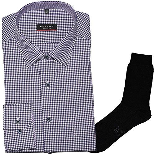 ETERNA Herrenhemd Modern Fit, flieder-lila, Vichy Popeline + 1 Paar hochwertige Socken, Bundle Flieder-Lila