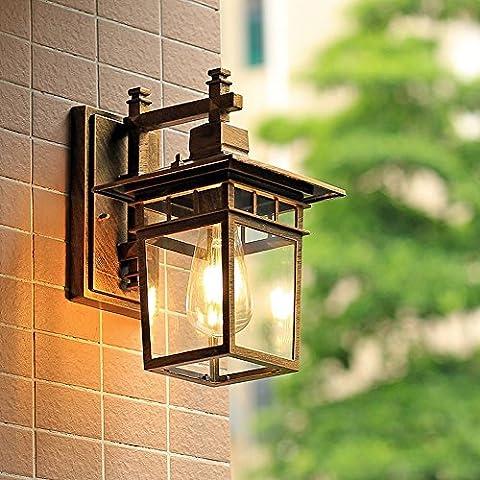 Européen extérieur imperméable à l'eau en verre lampe de mur en aluminium American Villa Courtyard Corridor Balcon Park Façade E27 Edison Wall Light 111V ~ 240V ( Couleur : Bronze )