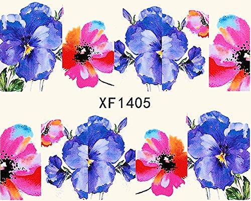 1 planche de Slider/Wrap/Full Cover Nail Stickers pour ongles, Hydrosoluble : XF de 1405 Fleurs