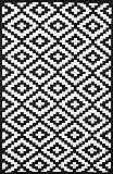 """Green Decore - Tappeto ecologico, 120 x 180 cm, modello """"Nirwana"""", per interni e esterni, colore: nero e bianco"""
