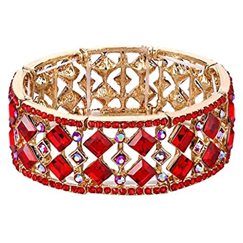 Clearine Women's Bohemian Boho Crystal Radiant Cut Round Beaded Stretch Bracelet Ruby Color