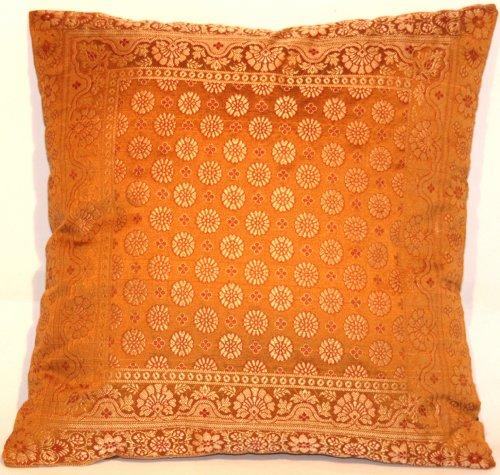 Indische Seide Deko Kissenbezüge- 40 cm x 40 cm (Hell Braun), Extravaganten Design für Sofa & Bett Dekokissen, Kissenhülle aus Indien.