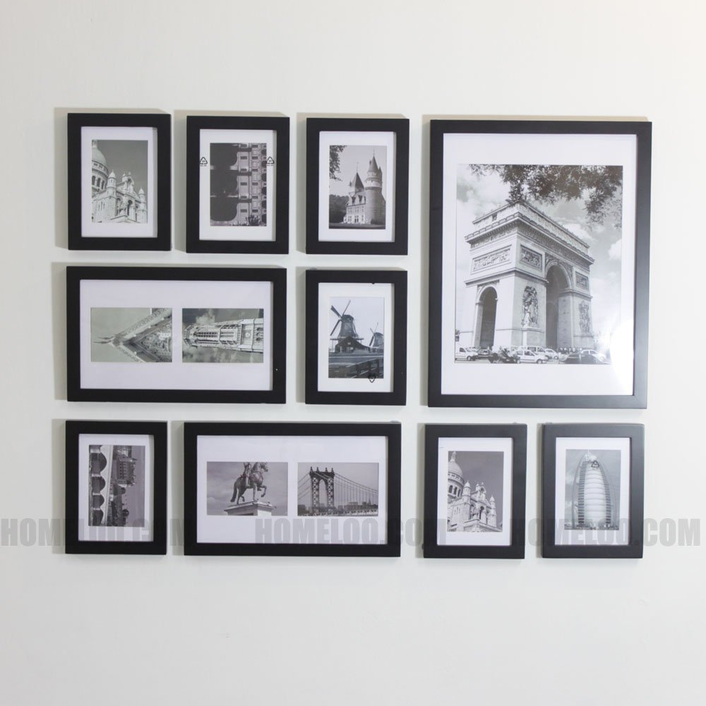homeloo wooden photo picture frame wall collage set of 10 modern black amazoncouk kitchen home