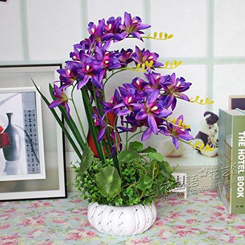 Flores artificiales orquídeas jarrones de cerámica Purple Accesorios Nupcial flores decorativas Artesanía Home decoración de jardines by XHOPOS HOME