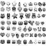 Gioielli Collana Braccialetto Fai-da-te,Pendenti Misti in Argento Tibetano,Gioielli Orecchini Braccialetto Collana,Accessori