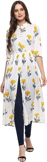 فستان Aahwan النسائي الطويل بتصميم مطبوع مزين بالورود من نسيج الرايون الهندي والبوليستر بفتحة أمامية