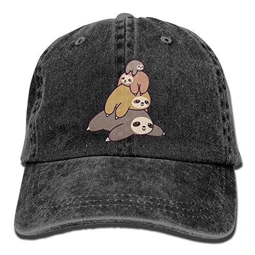 Unisex Adult Sloth Stack Pile Washed Denim Cotton Sport Outdoor Baseball Cap Adjustable One Size -