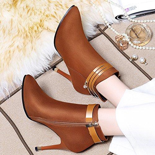 Hgtyu-martin Cotton Boots Shoes Botas Cortas Single Sexy Botas Con Tacones Altos Con Un Fondo Desnudo Y Botas Vx8008 Brown