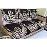 Griiham's 5 Seater Coffee Brown Sofa Cover with Gold Work(3+1+1) 90% Cotton 10% Polyster SB3