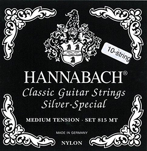 Hannabach Corde per chitarra classica Serie 815 Medium Tension per chitarre 8/10 corde Silver Special Re/7' corde di singolo