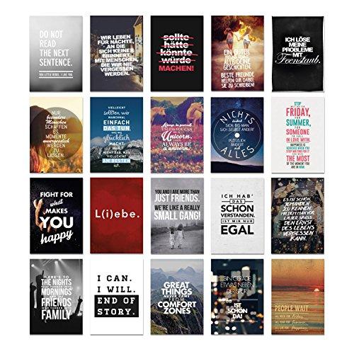20er Postkarten Set BEST OF mit Sprüchen von VISUAL STATEMENTS® / Hochwertige Spruchkarten / 350g Bilderdruckkarton / 12 x 17,5 cm (XXL) / 20 verschiedene Motive / Set BEST OF