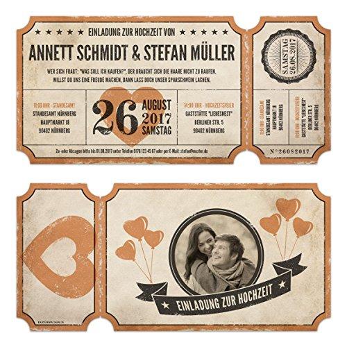Lasergeschnittene Foto Hochzeitseinladungen (30 Stück) - Vintage Ticket Luftballons - Hochzeitskarten (Individuell Bedruckte Banner)