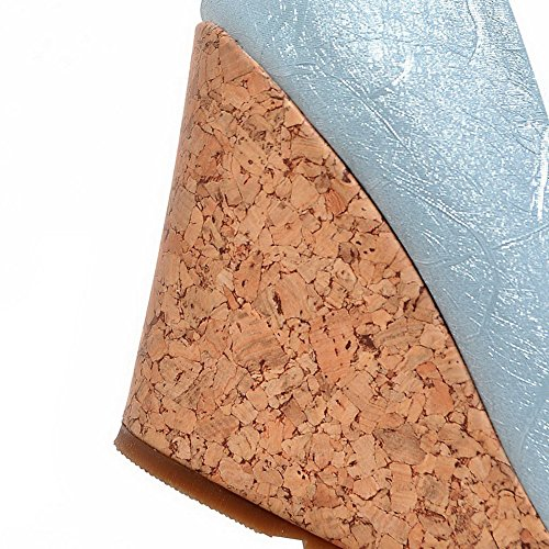 VogueZone009 Femme Rond Tire Pu Cuir Couleur Unie à Talon Haut Chaussures Légeres Bleu