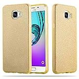 Cadorabo Hülle für Samsung Galaxy A3 2016 (6) - Hülle in Sternenstaub Gold – TPU Silikon und Hardcase Handyhülle im Glitzer Design - Hard Case TPU Silikon Schutzhülle