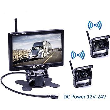 FUNK RÜCKFAHRSYSTEM Mit Rückfahrkamera 7 Zoll Monitor für KFZ LKW BUS Kabellos