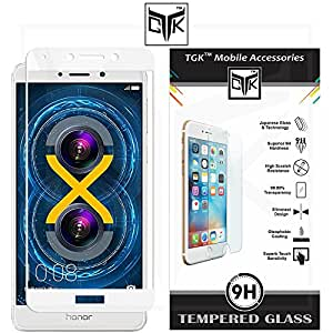 TheGiftKart™ Edge-to-Edge Ultra Premium HD Curved Full Screen Flexible Tempered Glass Screen Protector (Complete Screen Coverage & Precise Cut-Outs for Camera & Sensors) for Huawei Honor 6X - White
