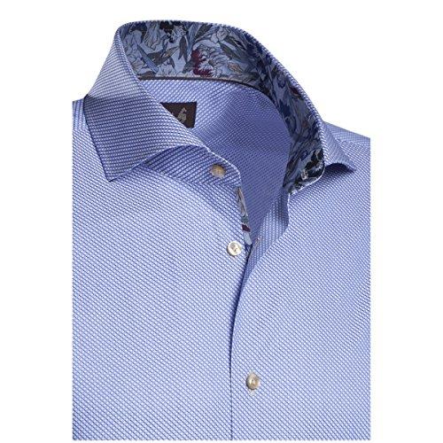 JACQUES BRITT Herren Hemd Custom Fit Brown Label 1/1-Arm, extra extra lang Bügelleicht City-Hemd Manschette weitenverstellbar blau weiss (0013)