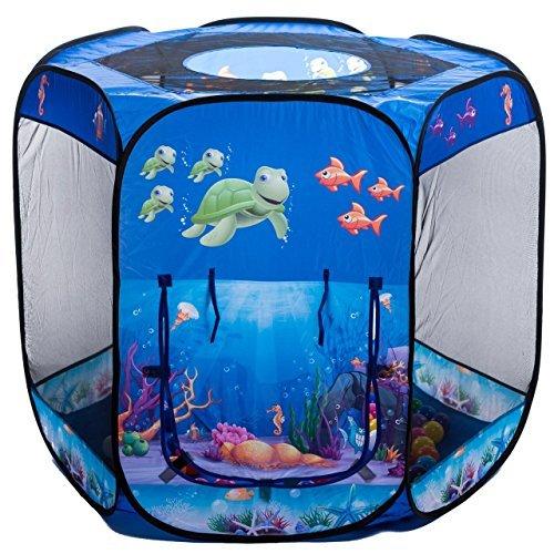 aussergewoehnlich.de Blue Ocean 6-Eck UNTERWASSERWELT Bällebad mit 500 blau-Transparenten Bällen (DUNKELBLAU)
