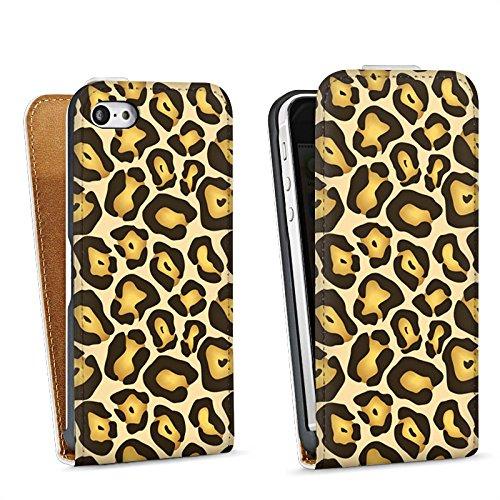 Apple iPhone 5 Housse Étui Silicone Coque Protection Jungle Animal Print Motif Motif Sac Downflip blanc