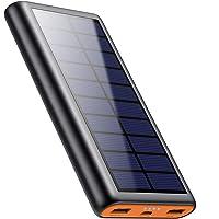QTshine Solar Powerbank 26800mAh, Externer Akku Ladegerät,Solar Power Bank Pack mit 2 Ausgängen speziell für Aktivitäten…