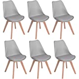 H.J WeDoo Lot de 6 chaises de Salle à Manger scandinaves, Chaises Rétro Bois de hêtre Massif- Gris