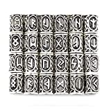 Armband zum Selbermachen von Eshylala, 24Stück, mit Wikingermotiv von nordischen Runen, antike Haar-, Bart-Perlen, Schmuck, skandinavische Anhänger, silber