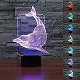 3D Delfin Glühen LED Lampe 7 Farben erstaunliche optische Täuschung Art Skulptur Ferneinstellung Lichter produziert einzigartige Lichteffekte und 3D-Visualisierung für Home Decor-kreative Geschenk