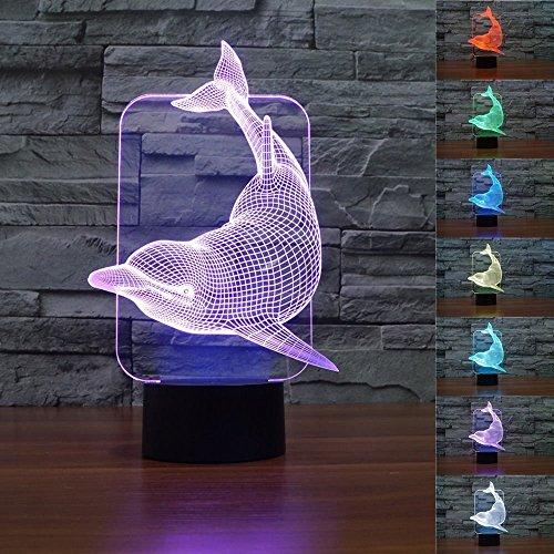 LED Nachtlicht Magical 3D Delphin Visualisierung Amazing Optische Täuschung Touch Control Light 7 Farben ändern für Kinderzimmer Home Decoration Best Geschenk