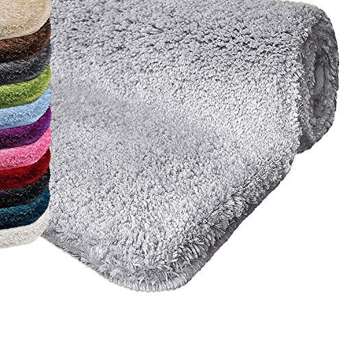Casa pura tappeto da bagno shaggy, assorbente - tappeto bagno antiscivolo - pelo alto e morbido in 12 colori e varie misure - grigio chiaro - 80x150 cm