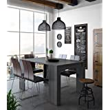 Skraut Home - Table Console Extensible avec rallonges, jusqu'à 140cm, Salle à Manger, Couleur Grise, fermée 90x50x78cm, Jusqu