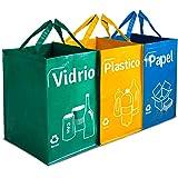 Opret Bolsas Basura Reciclaje 3 Pack Cubo de Reciclaje Separadas con Asas Gran Capacidad 40L para Papel, Vidrio y Plástico, I