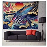 Vioaplem japanischen Kanagawa Wellen zum Aufhängen Druck Tapestry Wal Arowana Deer Schlange Totem Wandbehang Tapisserie Boho Bedspread Decke (Color : 3, Size : 200x148cm)
