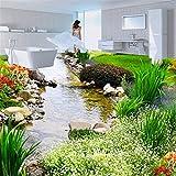 Fushoulu Benutzerdefinierte Mural Tapete 3D Stream Stein Bodenfliesen Aufkleber Wohnzimmer Bad Pvc Selbstklebende Wasserdichte Boden Tapete 3 D-200X140Cm
