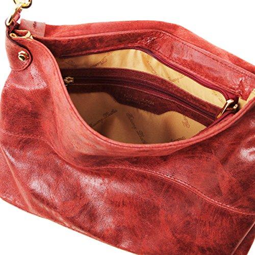 Tuscany Leather - TL Bag - Borsa a mano in pelle effetto invecchiato - TL141637 (Blu scuro) Rosso