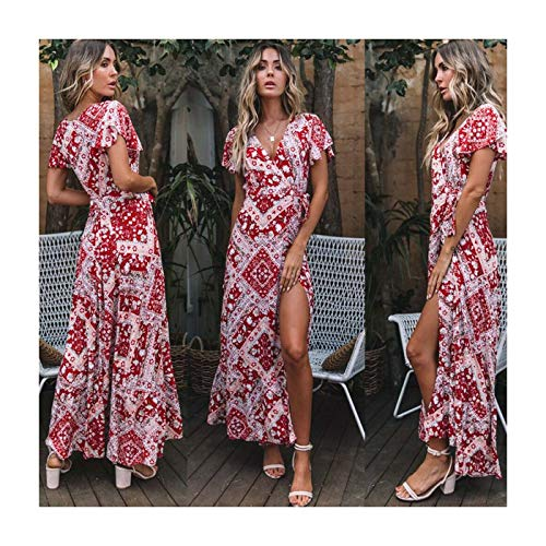 UK Women Wrap Summer Boho Floral Paisley Mini Print Dress Ladies Holiday Beach Style 5-Red XL UK 12 14