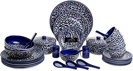 Caffeine Handmade Ceramic Ancient Royal Mughal Dinner Set -37 Piece Set