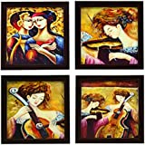 4 PIECE SET OF FRAMED WALL HANGING PAINTINGS