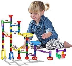 Innoo Tech Kugelbahn, 80tlg Murmelbahn, Marble Run, Konstruktionsspielzeug, pädagogisches Lernspielzeug, DIY Bausteine, Tolles Geschenk für Kinder ab 3 Jahr