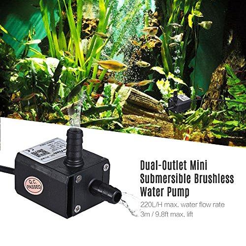 Festnight Dual-Outlet Mini Tauch Bürstenlose Öl Wasserpumpe Ultra-leise Max. Aufzug 3 Meter 220 L/H DC 12 V für Aquarium Aquarium Brunnen Zirkuliert -