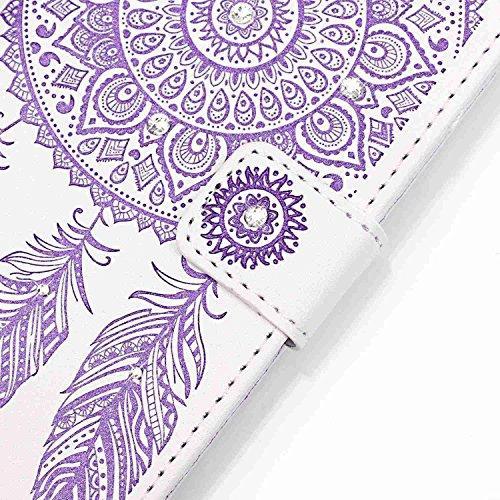 Cover per iPhone 6s Custodia in Pelle Rose,TOCASO Luccichio Diamante Premium di Cuoio del Raccoglitore Cover per iPhone 6/6S Sottile Custodia Stile Libro Portafoglio Colorato Bling Glitzer Flip Wallet Campanula,Viola
