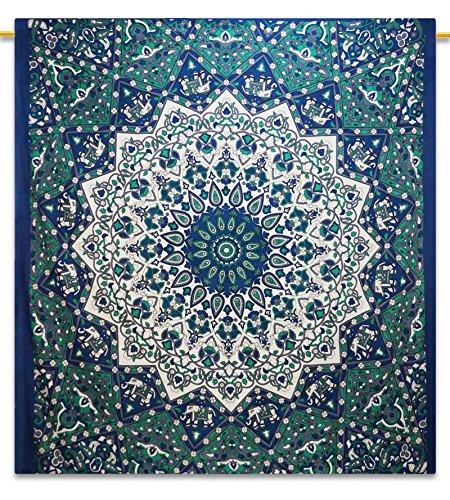 """Handicrunch Wanddekor indische Mandala Tapisserie Picknickdecke Hippie Bohemian voller Größe Gobelins 92 """"x 82"""""""